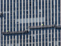 2019 Group of Window Washers on One Penn Plaza 2900 (Brechtbug) Tags: 2019 group window washers one penn plaza red number 1 light top building tower from hells kitchen clinton near times square broadway nyc 06262019 city midtown manhattan spring springtime weather dark low hanging cumulonimbus cumulus nimbus cloud hell s nemo southern view ny1 windows washer scaffold rig platform off buildings clean june