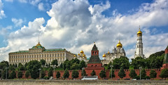 View to Kremlin from across the Moscow river (Tiigra) Tags: russia moscow city sky tree tower church wall architecture garden palace dome weathervane lantern russian kremlin iphone 2016 russianrevival