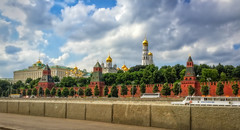 View to Kremlin from the Sofiyskaya Embankment (Tiigra) Tags: city tree tower church wall architecture garden russia moscow palace dome weathervane lantern russian kremlin iphone 2016 russianrevival