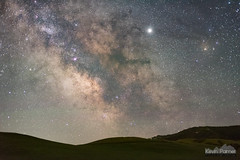 Milky Way and Green Hills (kevin-palmer) Tags: june summer nikond750 bighorn wyoming milkyway galaxy night sky stars starry space astronomy astrophotography clear dark evening green hills bighornmountains nikon50mmf14afd jupiter planet