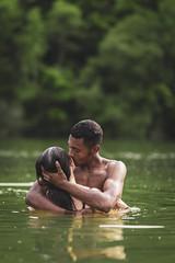 "- ""Love is in the air🎵"" (2019). (monsieurbaye) Tags: portrait beauty loveisintheair couple swimsuit lac naturallightphoto outdoor sigma85art sigma85mmart arredare greenwater timeoflove"