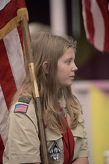 Carrying The Flag (Scott 97006) Tags: gil kid flag scout blonde parade