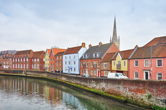 Fye Bridge View (Ian Smith (Studio72)) Tags: rx100 sonyrx100 sony uk england norfolk norwich norwichcathedral fyebridge riverwensum river riverside cityscape cathedral houses heritage bricks perspective urban city town residential homes studio72
