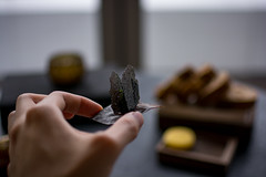Amuse Bouche: Vodka Squid Ink Tuile (The Cereal Eater) Tags: écriture maximegilbert central hongkong michelin 2019