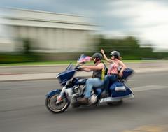 Rolling Thunder Couple (kipsnaps) Tags: rolling thunder bikers washington dc motion blur motorcycle