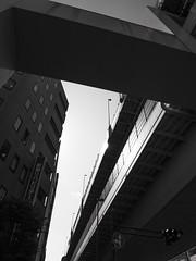 overhead reflection (peaceblaster9) Tags: overpass highway structure building 影 shadow light 光 street 板橋 東京 itabashi tokyo blackandwhite bnw bw blackwhite monochrome モノクローム モノクロ 白黒