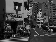 shoe repair & keys (peaceblaster9) Tags: street streetcorner shop shoerepair people building shadow 影 日光 板橋 東京 itabashi tokyo blackandwhite bnw bw blackwhite monochrome モノクローム モノクロ 白黒