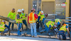 Construction in Redwood City (jacklouis17) Tags: streetphotography people sanmateocounty construction sidewalk crew redwoodcity menworking hardwork labor