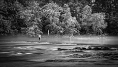 Foggy Fishin - B&W Reprise (4 Pete Seek) Tags: chattahoochee chattahoocheeriver river water fog weather fishing blackwhite blackandwhite whiteandblack bw