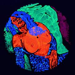 Yurii Yermolenko, Messalina, (ultraviolet lighting), 2019, (GOLDILOCKS ZONE project), fluorescent acrylic on vinyl, 30x30 cm. (yuryermolenkoartist) Tags: psychedelic messalina woman beauty spectral color magical goldilockszone circle vinyl planet create love energy passion creation desire facevinyl sex sexy spectrum quantum dream bigbang girl origin darkenergy idea magic eros mystery planets yuryermolenko ermolenko ермоленко юрийермоленко painting contemporaryart modernart fineart visualarts art rapanstudio bobby saatchigallery saatchionline saatchiart saatchiartist