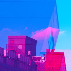 Tops (boodoo) Tags: zoomnikkor80200mm45 rawtherapee mf manualfocus zoom outdoor naturallight availablelight crownheights brooklyn afternoon summer doubleexposure colormixer cyan magenta squarecrop