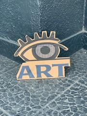 Art is in the eye of the beholder (remiklitsch) Tags: la eye grey blue remiklitsch iphone sign cardboard streetart city street urban art