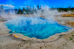 Abyss Pool - Yellowstone National Park (greensteves) Tags: abysspool yellowstonenationalpark fz1000 landscape hotspring steam azure
