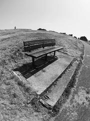 man on the hill (chrisinplymouth) Tags: bench seat hillside stoke plymouth devon england uk cw69x black white monochrome xg fisheye diagonal diag r154 plain