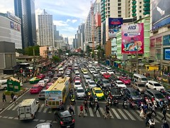 Bangkok's traffic (ChalidaTour) Tags: thailand thai asia asian bangkok city traffic jam chaos cars busses motorbike people crossing building advert happyplanet asiafavorites