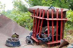 Peaches (BunnyHugger) Tags: art cage dog folkart junkyardart lakenenland marquette michigan monster park peaches roadside sculpture touristattraction upperpeninsula wolf letterboxing