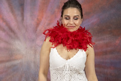 DSC_0472 (photographer695) Tags: laura from russia shoreditch studio london cream dress red ostrich feather boa portrait