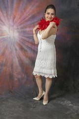 DSC_0457 (photographer695) Tags: laura from russia shoreditch studio london cream dress red ostrich feather boa portrait