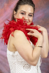 DSC_0452 (photographer695) Tags: laura from russia shoreditch studio london cream dress red ostrich feather boa portrait