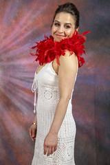 DSC_0445 (photographer695) Tags: laura from russia shoreditch studio london cream dress red ostrich feather boa portrait