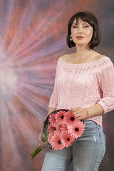 DSC_0522 Olga from Moldova Blue Denim Ragged Jeans and Pink Top with Pink Gerbera Transvaal Daisy Flowers Shoreditch Studio Portrait London (photographer695) Tags: olga from moldova blue denim ragged jeans pink top with gerbera transvaal daisy flowers shoreditch studio portrait london