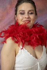 DSC_0462 (photographer695) Tags: laura from russia shoreditch studio london cream dress red ostrich feather boa portrait