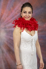 DSC_0449 (photographer695) Tags: laura from russia shoreditch studio london cream dress red ostrich feather boa portrait