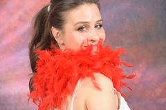 DSC_0463 (photographer695) Tags: laura from russia shoreditch studio london cream dress red ostrich feather boa portrait