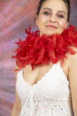 DSC_0468 (photographer695) Tags: laura from russia shoreditch studio london cream dress red ostrich feather boa portrait