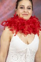 DSC_0467 (photographer695) Tags: laura from russia shoreditch studio london cream dress red ostrich feather boa portrait