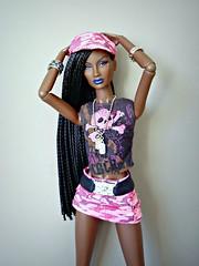 Annik (Deejay Bafaroy) Tags: fashion royalty fr integrity toys black doll puppe barbie annik theawakening awakening nuface portrait porträt pink rosa blue blau hard rock cafe outfit cap kappe