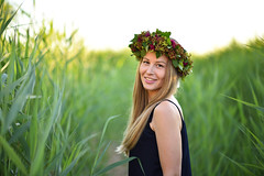 Eleonora P. (Pavels Dunaicevs) Tags: girl woman female young cute nice nature river green wreath dress smile smiling happy traditional jurmala latvia priedaine lielupe nikon nikkor d750 85mm evening summer grass portrait blonde midsummer holiday festival sunny people country colorful vivid bokeh happiness