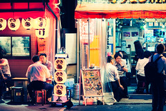 Somewhere around Yurakucho (Jon Siegel) Tags: nikon nikkor d810 135mm f2 135mmf2dc people crowd night fashion cheerful lanterns restaurants bars salarymen drinking nightlife yurakucho tokyo japan japanese