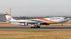 OOABB A340 Air Belgium (Anhedral) Tags: ooabb airbus a340 a340300 airbelgium heathrow airliner