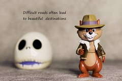 Difficult roads (DayBreak.Images) Tags: tabletop toy funkopop disney chipmunk skull canondslr canoneflens ringlight photoscape text