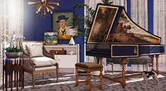 It's music to my ears (Alexa Maravilla/Spunknbrains) Tags: fancydecor collabor88 uber elmhive jian secondlife sl decor decoration home harpsichord books indoors furniture 3dmesh virtualworld mesh classic