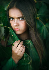Envy ({jessica drossin}) Tags: jessicadrossin girl teen woman eyes face portrait green leaves summer angry moody bold wwwjessicadrossincom