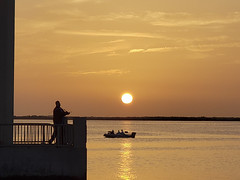 Everybody getting an early start (mimsjodi) Tags: sunrise fisherman boat silhouette indianriverlagoon titusvillefl bridge composite cellphone