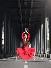 (dimitryroulland) Tags: nikon d750 85mm 18 dimitryroulland paris france urban street city natural light performer art artist dance dancer ballet ballerina bridge birhakeim red dress pointe