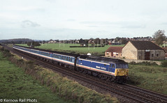 The Full NSE - Sherborne 1992 (Kernow Rail Phots) Tags: 47714 class47 duff spoon sherborne nse networksoutheast 0928 exetetstdavids waterloo exeter mk2 coaches coach train passenger trains railway railways railroad britishrail br rail sunday 18th october 1992 1990s 18101992 trees buildings scenic fence rugby posts sports fields 477 shoveduff mule