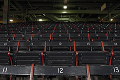 Grandstands (Classic Seating) (brucetopher) Tags: redsox baseball mlb majorleague fenway park fenwaypark boston toronto historic stadium grandstand seating seats chair number numbered emptyseats blue red redwhiteandblue redwhiteblue american field ballpark player play passtime pasttime game contest sox playball ball ballplayer baseballplayer ballfield baseballdiamond baseballfield diamond bigdiamond americasfavoritepastime sports fens fen greenmonster greenmonstah monstahdirtywater sweetcaroline green summer antique old nigel
