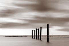 Poles - Light - Contemplation (frank_w_aus_l) Tags: cuxhaven mix natur longexposure contemplation pier sky space horizon germany depth black blackandwhite noiretblanc white pole light niedersachsen deutschland