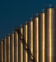 Golden tubes (jefvandenhoute) Tags: belgium belgië antwerp antwerpen light lines shapes industrial goldenlight