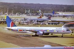 AIR 2000 B757 G-OOOJ (Adrian.Kissane) Tags: 757 boeing aviation sky outdoors gatwick london ramp airport airline airliner aircraft jet plane aeroplane goooj lgw b757 24290 1999 air2000