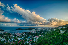 Charlotte Amalie at day's end (tquist24) Tags: caribbean caribbeansea charlotteamalie charlotteamalieoverlook hdr nikon nikond5300 outdoor stthomas usvirginislands virginislands clouds evening geotagged hill hills island islands ocean outside sky sunset tropical water