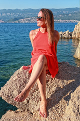 On the rocks (malioli) Tags: dress rocks sea portrait model girl woman fimale sunshine outdoor adriatic canon