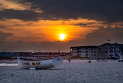 Do You Have Family in the Area? (ebhenders) Tags: cape may new jersey sunset sand beach ocean surf life boat hotel clouds sun
