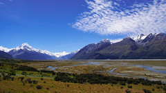 New Zealand's Southern Alps (stevjosco) Tags: alpine alps background beautiful blue environment glacial journey landscape mountain mountains national nature newzealand nz outdoor park peaks river road sky snow stream summer sunny tourism travel trip vacation valley view