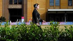 Girl on the Avenue (cupitt1) Tags: earphones gardenia grove pacing fuji xpro1