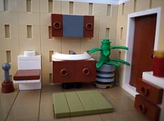 Bathroom vignette MOC - 1960 and 2010 fusion. Washing stand. (betweenbrickwalls) Tags: lego moc afol bathroom interior interiordecor interiordesign fusion design furnishing